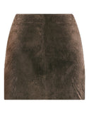 Suede Double Zip Mini Skirt