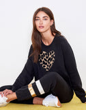 Sundry Leopard Heart Cut Off Sweatshirt