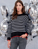 Sundry Stripes Loose Knit Sweater