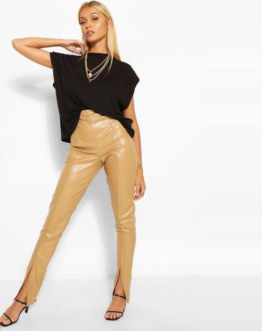 Super Stretch Leather Look Split Front Leggings