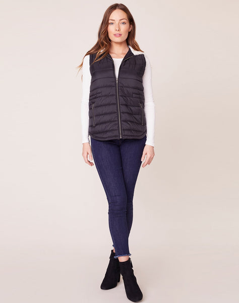 Take On Me Quilted Vest with Faux Fur Hood