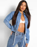 Tall Denim Ruched Waist Tie Denim Jacket