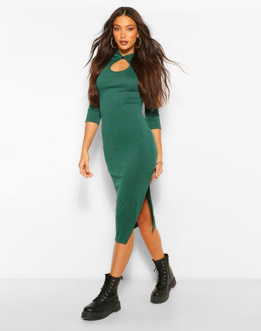 Tall Rib Mandarin Collar Keyhole Midi Dress