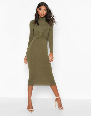 Tall Twist Front Rib Bodycon Dress
