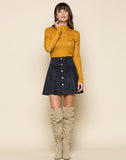 Tara Faux Suede Button Up Skirt