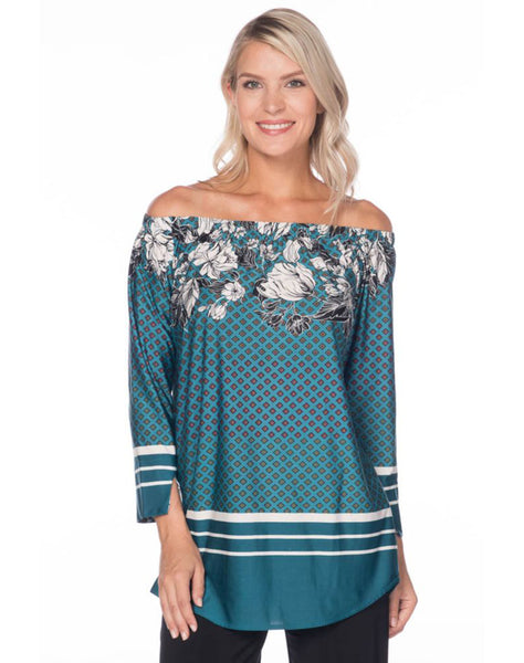 Teal Placement Printed Off Shoulder Top - Ms1036p-p118