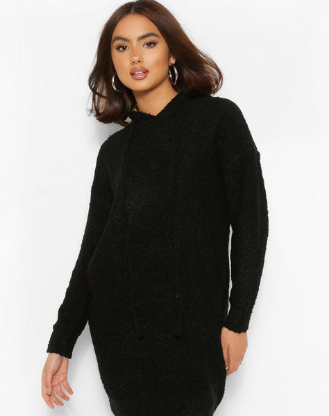 Textured Knit Hoody Jumper Dress