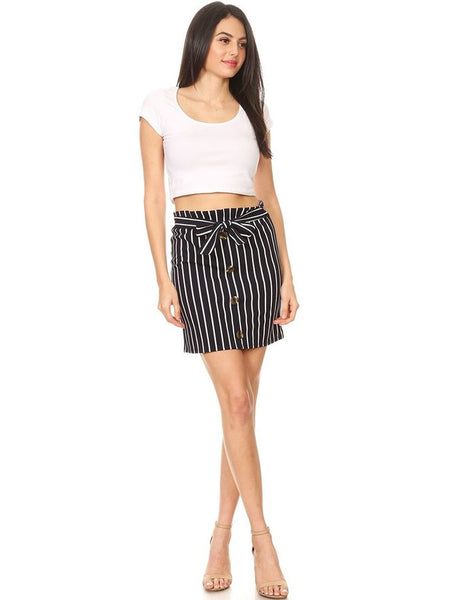 Textured Stripe Mid-Thigh Skirt With Front Details