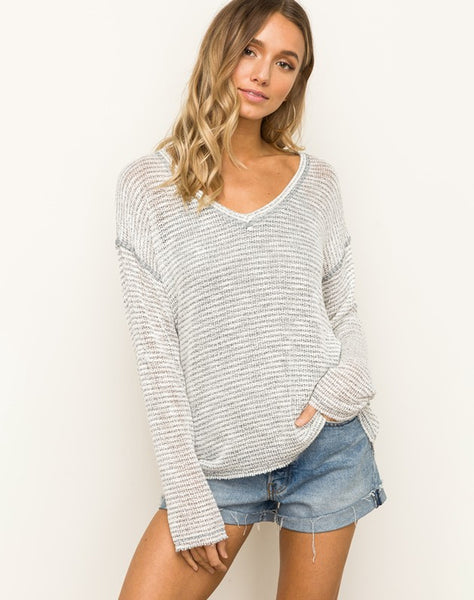 Textured Sweater Knit V Neck Dolman Sleeve Top