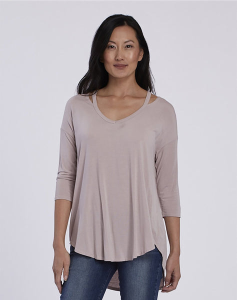 Slit Shoulder V-neck Tee