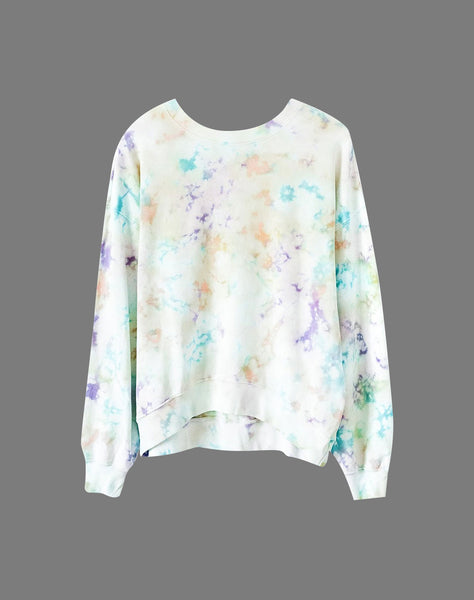 Tie Dye Oversized Crew Sweatshirt in Spring Bubble