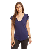 Gauzy Cotton Shirred Yoke Flutter Sleeve Tee W/ Ties