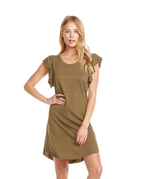 TRIBLEND FLUTTER SLEEVE HI-LO SHIRTTAIL DRESS