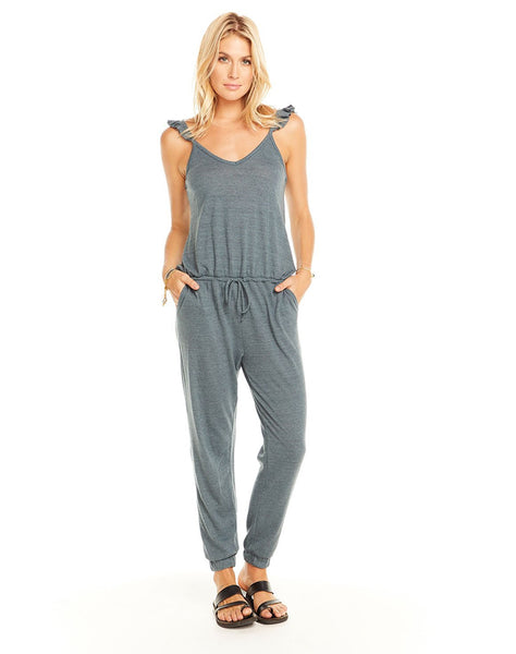 Triblend Flutter V Neck Jumpsuit