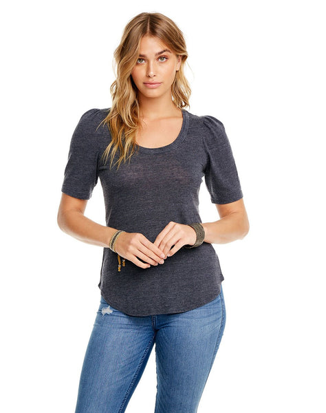 Triblend Puff Elbow Sleeve Shirttail Tee