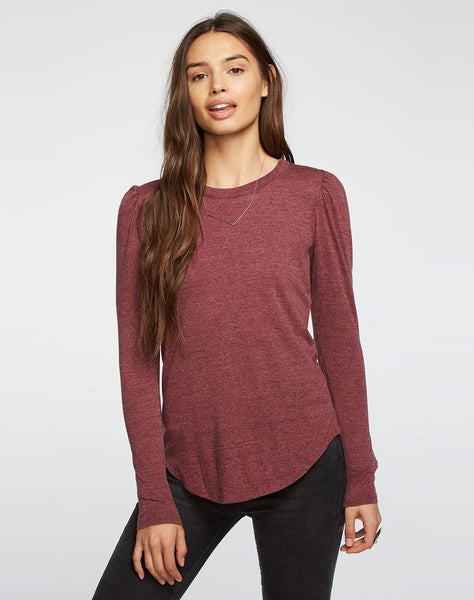 Triblend Puff Sleeve Crew Neck Shirttail Tee