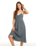 Triblend Ruched Front Midi Cami Skater Dress
