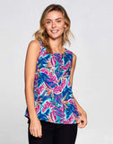 TROPICAL LEAF PRINT SLEEVELESS TOP WITH BACK SLIT