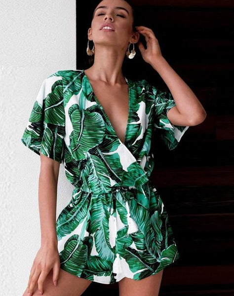 Tropical Print Wrap Front Boho Romper With Tassels