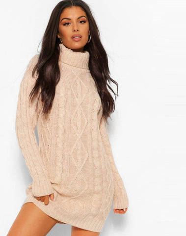 Turtleneck Cable Knit Dress