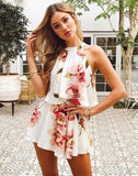Two-piece Halter Top Floral Print Romper