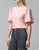Vera Gathered Shoulder Top in Vintage Rose