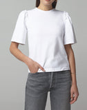 Vera Gathered Shoulder Top In White