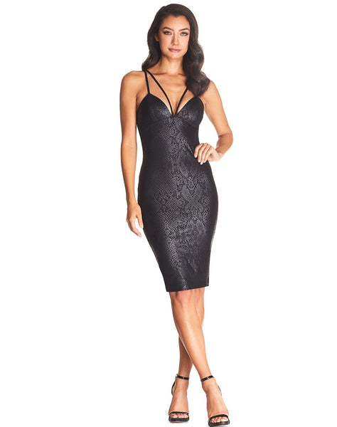 Vickie Dual Strap V-Neck Body Con Mini Dress-FINAL SALE