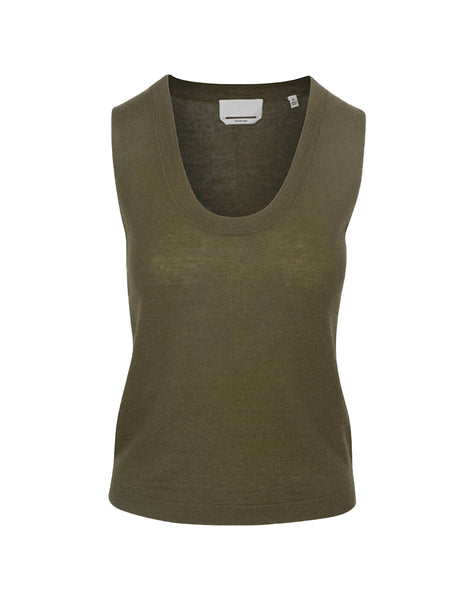 Vintage Crop Tank Sweater in Military