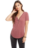 Vintage Jersey Short Sleeve V-Neck Shirttail Henley