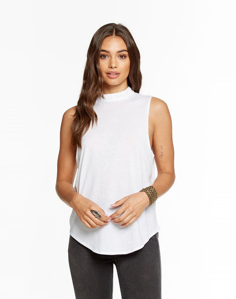 Vintage Jersey V-back Mock Turtle Neck Shirttail Tank