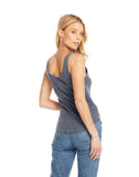 Vintage Rib Slit V-Neck Scoop Back Shirttail Tank