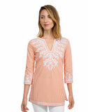 Wash-and-Wear Embroidered Pinstripe Tunic - The Reef