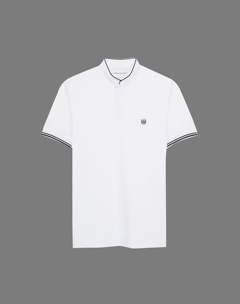 White cotton polo with officer collar