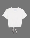 White jersey T-shirt with foulard tie