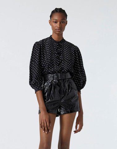 Flowing Fabric Black Top W/white Polka Dots