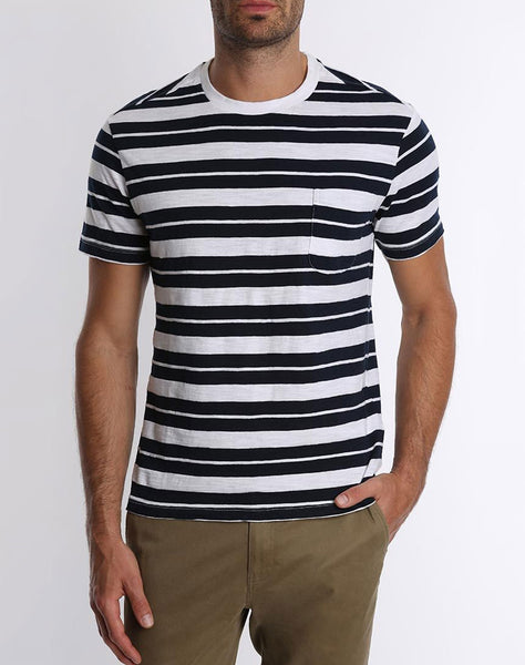 White Stripe Pocket Tee