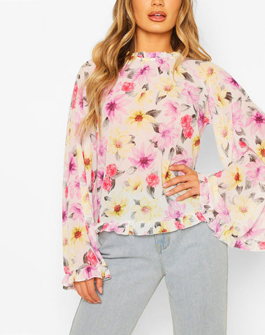 Woven Floral Flared Sleeve Peplum Top