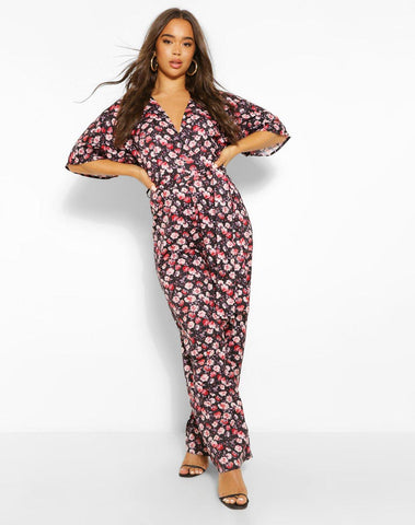 Woven Floral Volume Sleeve Belted Jumpsuit