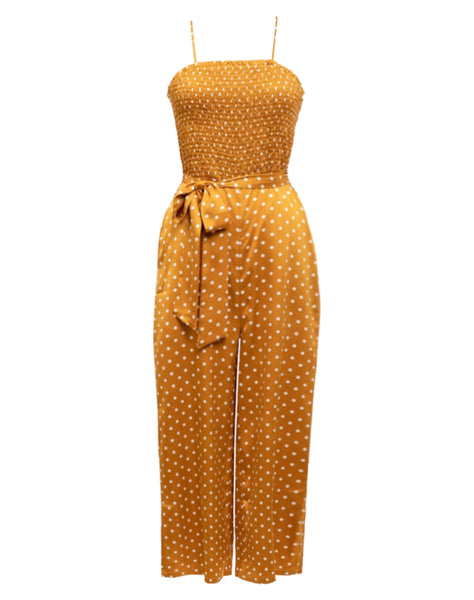 Woven Spaghetti Strap Smocking Jumpsuit