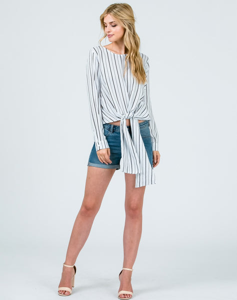 Woven Striped Self Tie Top..