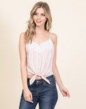 Woven Striped Tank With Front Tie And Lace Detail