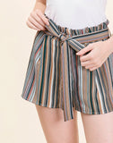 Young Contemporary Multi Striped Shorts With Tie..