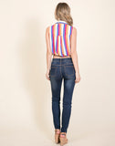 Young Contemporary Sleeve Less Multi Striped Button Down Top With Drawstrings