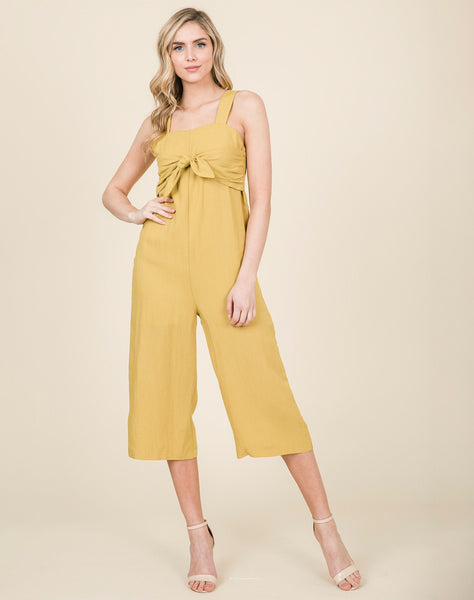 Young Contemporary Sleeve Woven Jumpsuit With Front Tie