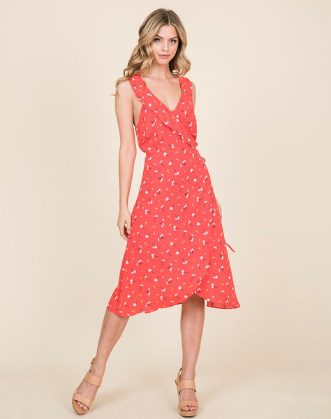 Young Contemporary Sleeveless Ruffuled Midi Wrap Dress With Floral Print..