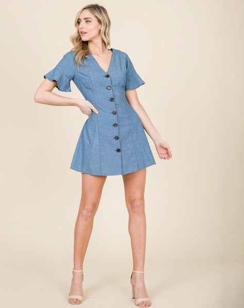 Young Contemporary Sleevess Woven Denim Dress With Button Detail