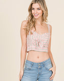 Young Contemporary Sleeveless Woven Striped Crop Top With Front Tie.