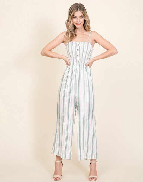 Young Contemporary Striped Jumpsuit With Smocking