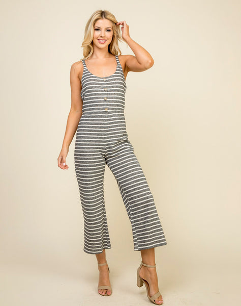 Young Contemporary Striped Knit Jumpsuit